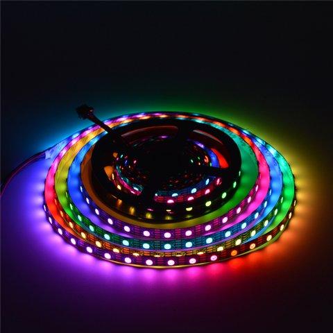 Світлодіодна стрічка RGB SMD5050, WS2813 (чорна, з управлінням, IP20, 5 В, 60 діодів/м, 5 м) Прев'ю 2