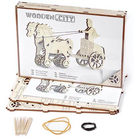 Mechanical 3D Puzzle Wooden.City Roman Chariot - /*Photo|product*/